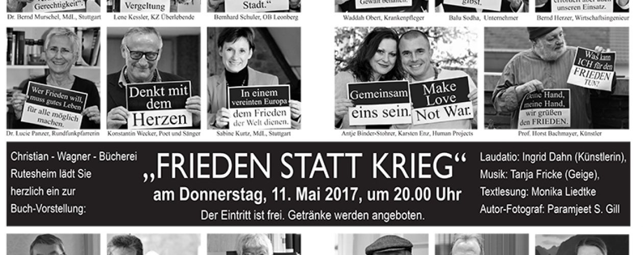 """Buchvorstellung """"Krieg statt Frieden"""" am 11.5.2017 in Rutesheim"""
