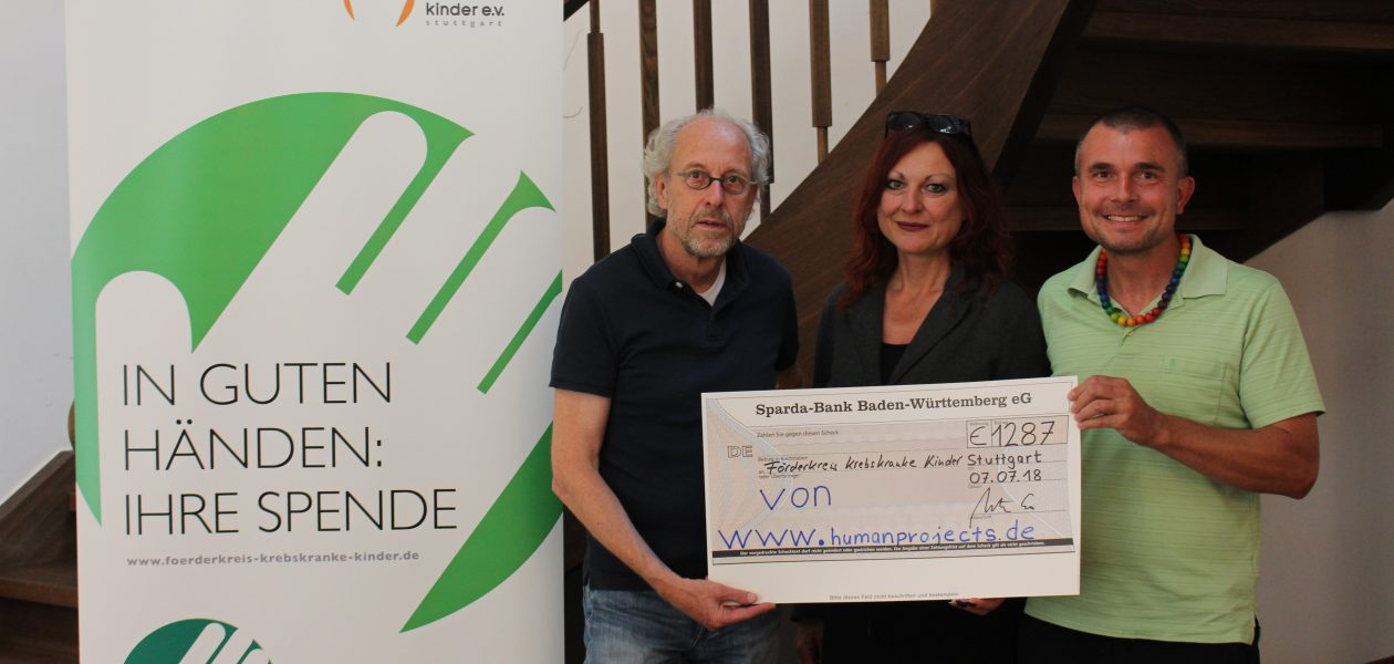 Spendenübergabe an den Förderkreis krebserkrankte Kinder Stuttgart e.V. Olgäle